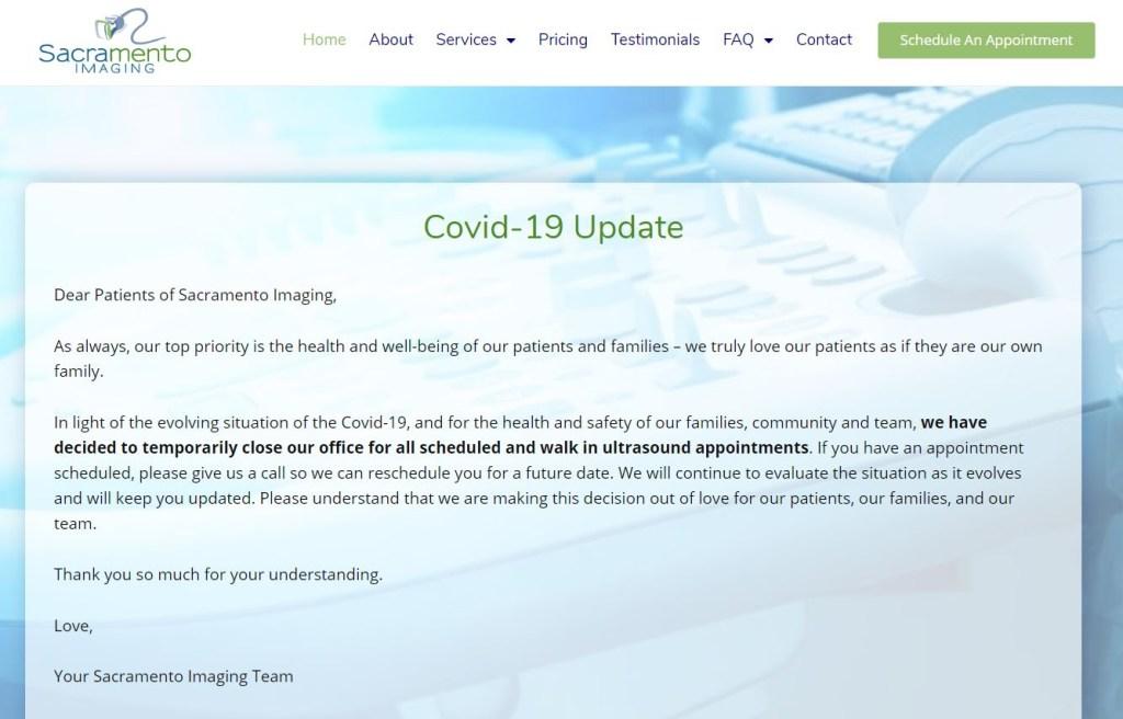website-covid-19-message-update